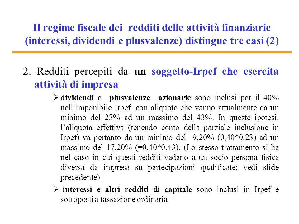 Il regime fiscale dei redditi delle attività finanziarie (interessi, dividendi e plusvalenze) distingue tre casi (2) 2. Redditi percepiti da un sogget