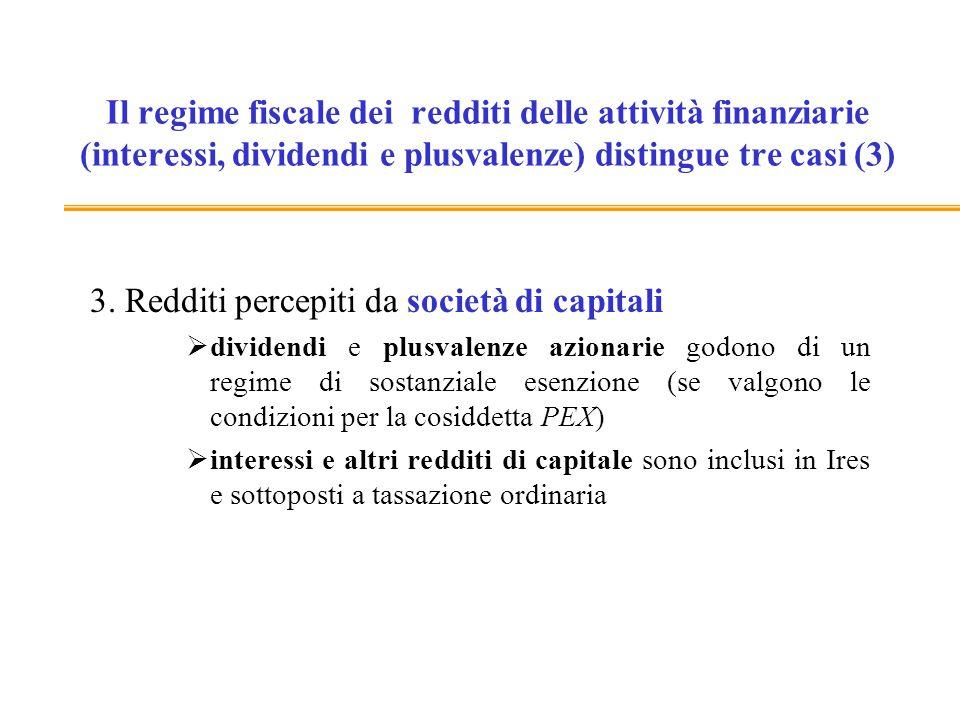 Il regime fiscale dei redditi delle attività finanziarie (interessi, dividendi e plusvalenze) distingue tre casi (3) 3. Redditi percepiti da società d