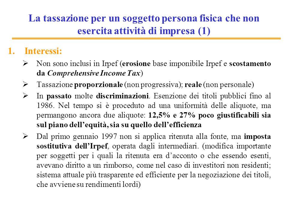 Riforma 1998: principali caratteristiche Principali caratteristiche della riforma 1998: Progressiva uniformità delle aliquote: ne permangono due (12,5% e 27%, tuttora in vigore) ma lobiettivo era unificazione al 19% o 20% (come la prima aliquota Irpef di allora) Generalità della tassazione (soprattutto con la tassazione generalizzata delle plusvalenze e dei derivati) Tassazione delle plusvalenze alla maturazione Ampio coinvolgimento degli intermediari nellaccertamento e nel prelievo dellimposta.