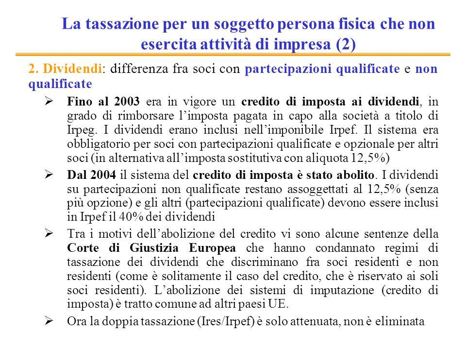 La tassazione per un soggetto persona fisica che non esercita attività di impresa (2) 2. Dividendi: differenza fra soci con partecipazioni qualificate