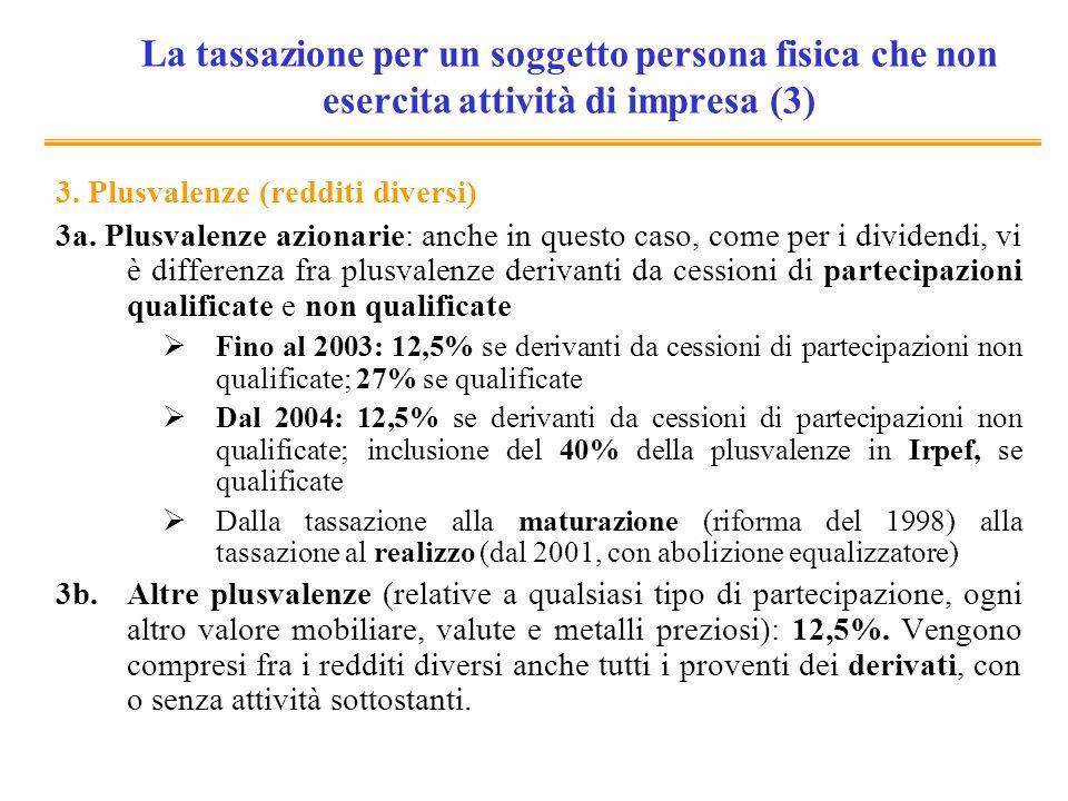 La tassazione per un soggetto persona fisica che non esercita attività di impresa (3) 3. Plusvalenze (redditi diversi) 3a. Plusvalenze azionarie: anch