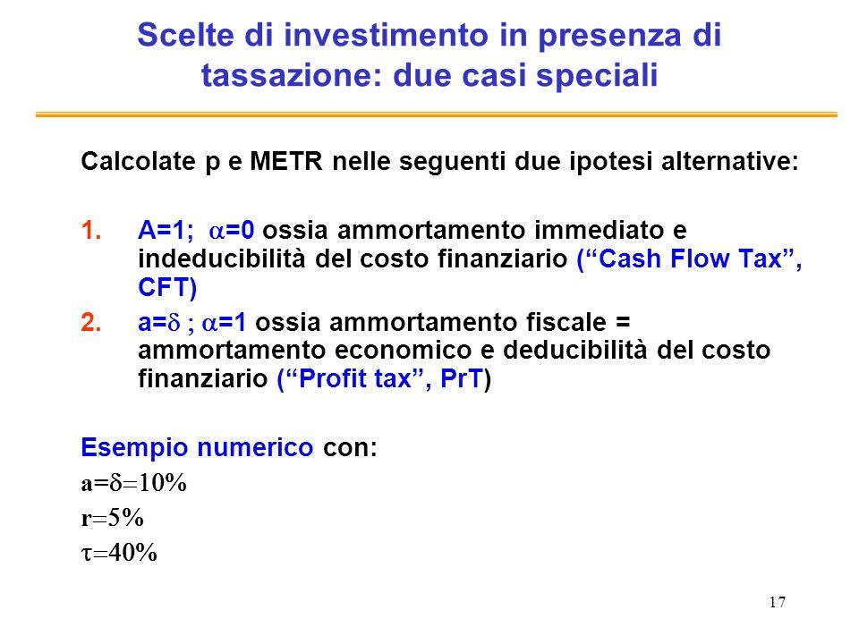 17 Scelte di investimento in presenza di tassazione: due casi speciali Calcolate p e METR nelle seguenti due ipotesi alternative: 1.A=1; =0 ossia ammo