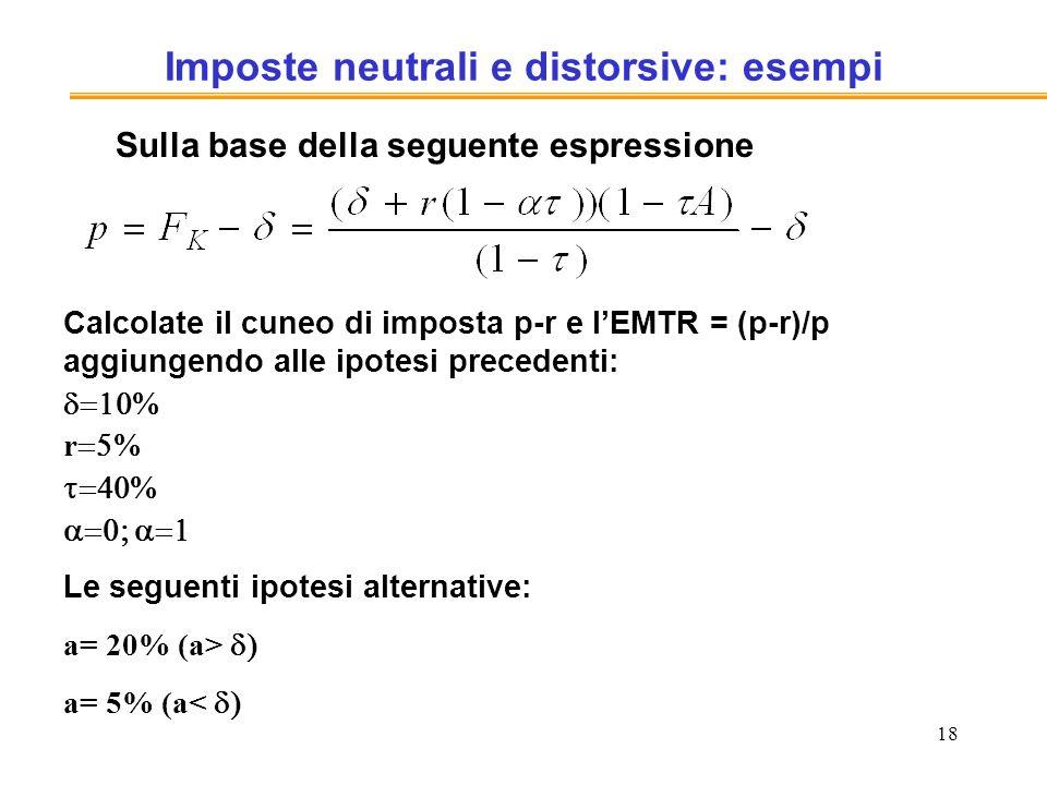 18 Imposte neutrali e distorsive: esempi Sulla base della seguente espressione Calcolate il cuneo di imposta p-r e lEMTR = (p-r)/p aggiungendo alle ip