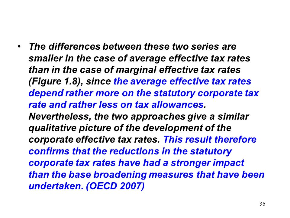 36 The differences between these two series are smaller in the case of average effective tax rates than in the case of marginal effective tax rates (F
