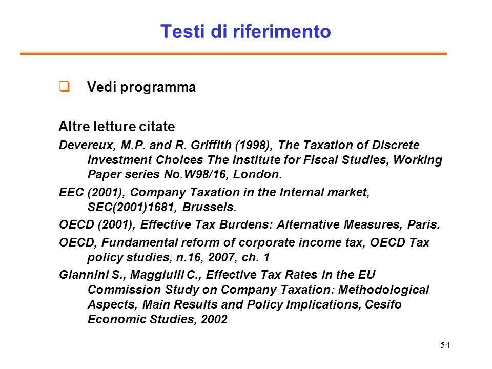 54 Testi di riferimento Vedi programma Altre letture citate Devereux, M.P. and R. Griffith (1998), The Taxation of Discrete Investment Choices The Ins