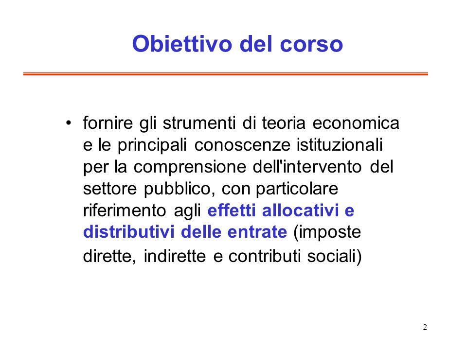2 Obiettivo del corso fornire gli strumenti di teoria economica e le principali conoscenze istituzionali per la comprensione dell'intervento del setto