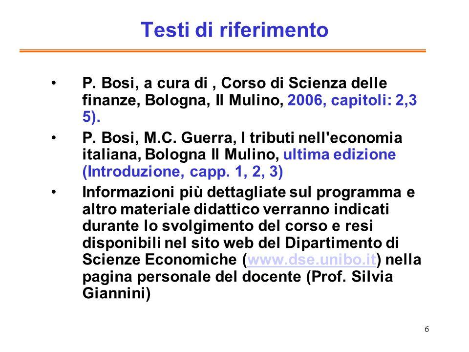 6 Testi di riferimento P. Bosi, a cura di, Corso di Scienza delle finanze, Bologna, Il Mulino, 2006, capitoli: 2,3 5). P. Bosi, M.C. Guerra, I tributi