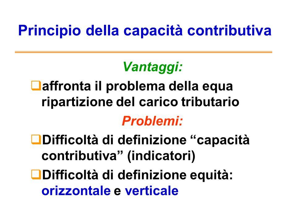 Principio della capacità contributiva Vantaggi: affronta il problema della equa ripartizione del carico tributario Problemi: Difficoltà di definizione