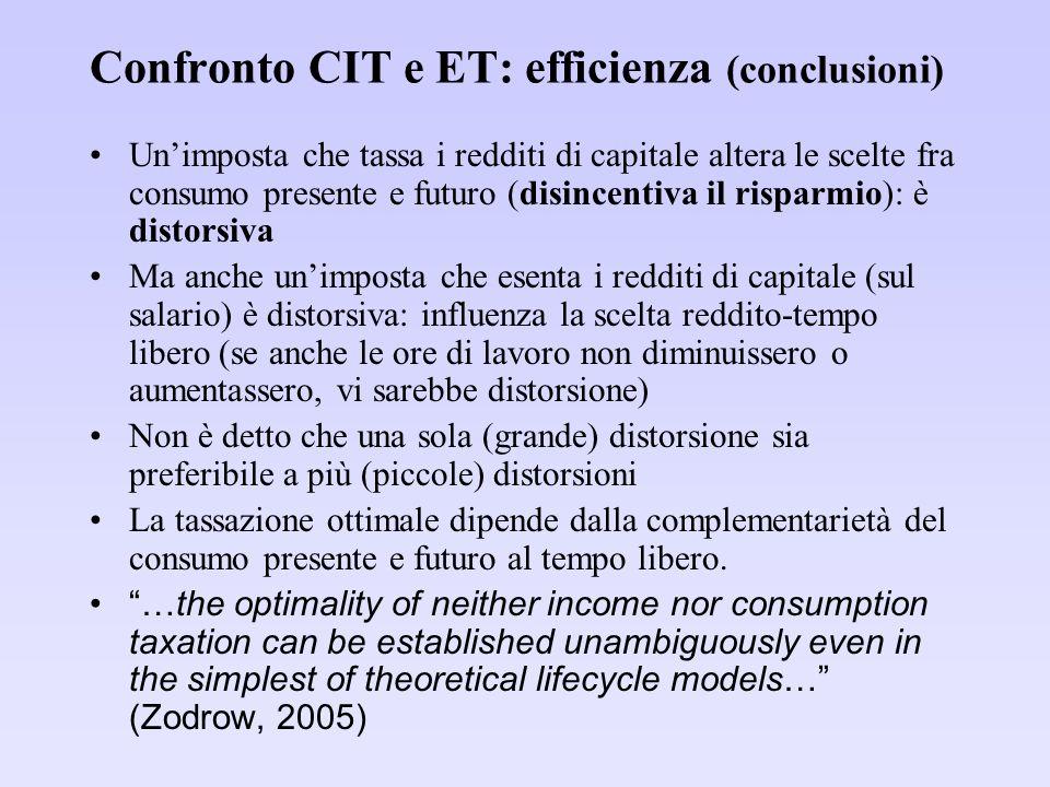 Confronto CIT e ET: efficienza (conclusioni) Unimposta che tassa i redditi di capitale altera le scelte fra consumo presente e futuro (disincentiva il risparmio): è distorsiva Ma anche unimposta che esenta i redditi di capitale (sul salario) è distorsiva: influenza la scelta reddito-tempo libero (se anche le ore di lavoro non diminuissero o aumentassero, vi sarebbe distorsione) Non è detto che una sola (grande) distorsione sia preferibile a più (piccole) distorsioni La tassazione ottimale dipende dalla complementarietà del consumo presente e futuro al tempo libero.