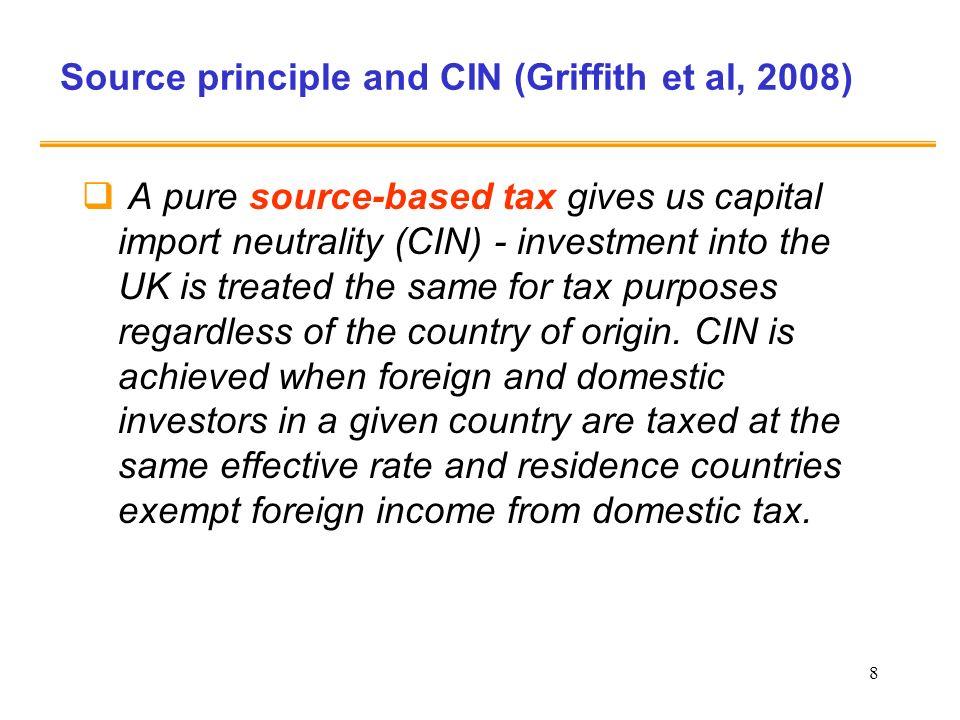 19 Principi di tassazione internazionale dei redditi di capitale e delle società: diversi concetti di neutralità (1) Principio di fonte: CIN Principio di residenza : CEN r H (1-t H ) =r F (1-t F ) Solo se le aliquote di imposta sono uguali (t H = t F ) sono contemporaneamente rispettate la CEN e la CIN