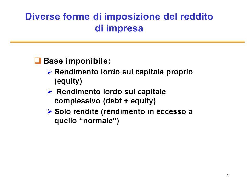 2 Diverse forme di imposizione del reddito di impresa Base imponibile: Rendimento lordo sul capitale proprio (equity) Rendimento lordo sul capitale co
