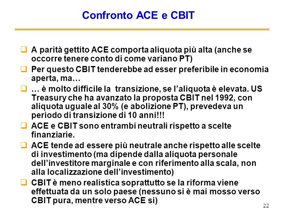 22 Confronto ACE e CBIT A parità gettito ACE comporta aliquota più alta (anche se occorre tenere conto di come variano PT) Per questo CBIT tenderebbe