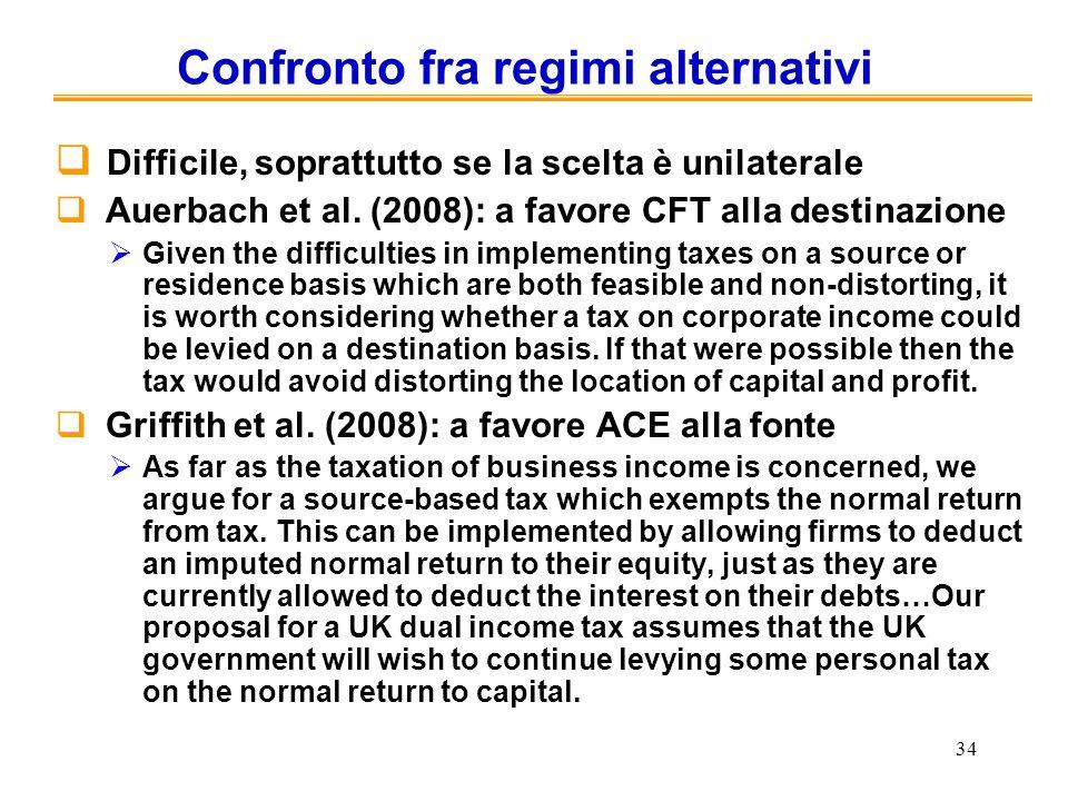 34 Confronto fra regimi alternativi Difficile, soprattutto se la scelta è unilaterale Auerbach et al. (2008): a favore CFT alla destinazione Given the