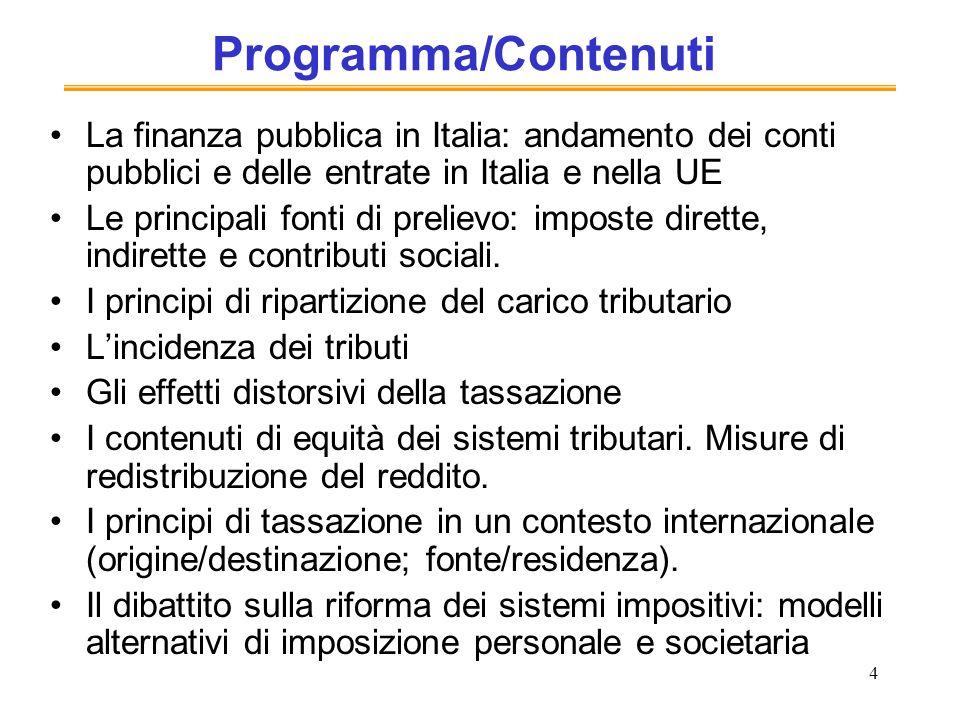 4 Programma/Contenuti La finanza pubblica in Italia: andamento dei conti pubblici e delle entrate in Italia e nella UE Le principali fonti di prelievo