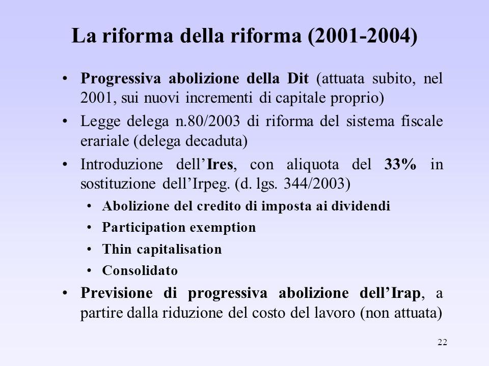 22 La riforma della riforma (2001-2004) Progressiva abolizione della Dit (attuata subito, nel 2001, sui nuovi incrementi di capitale proprio) Legge de