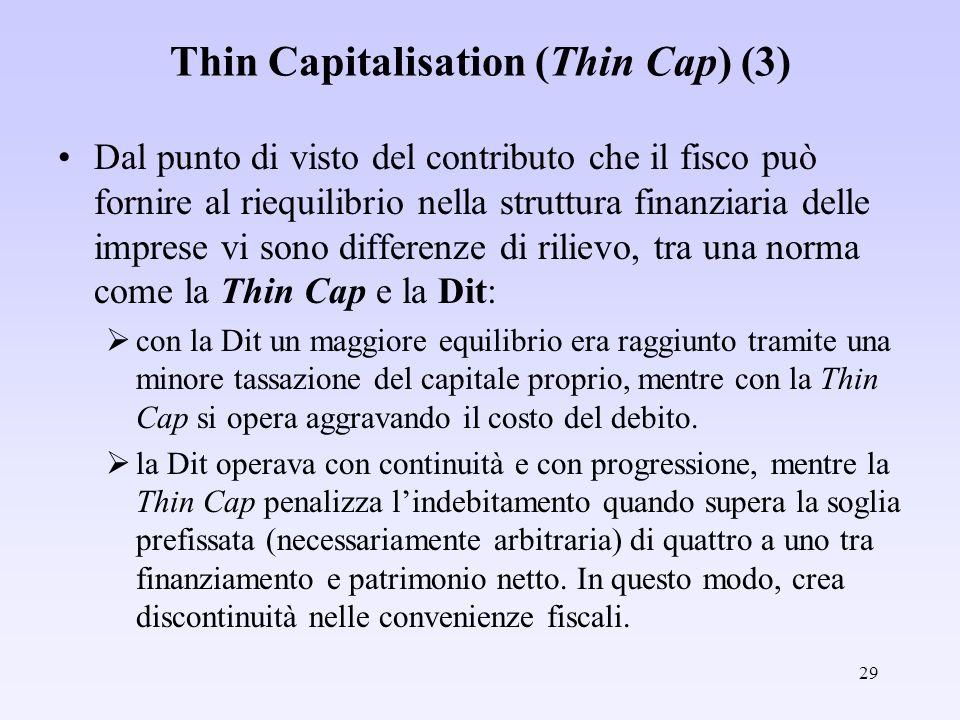 29 Thin Capitalisation (Thin Cap) (3) Dal punto di visto del contributo che il fisco può fornire al riequilibrio nella struttura finanziaria delle imp
