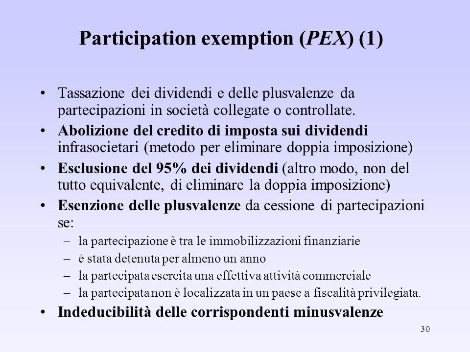 30 Participation exemption (PEX) (1) Tassazione dei dividendi e delle plusvalenze da partecipazioni in società collegate o controllate. Abolizione del