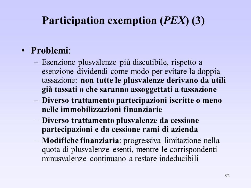 32 Participation exemption (PEX) (3) Problemi: –Esenzione plusvalenze più discutibile, rispetto a esenzione dividendi come modo per evitare la doppia