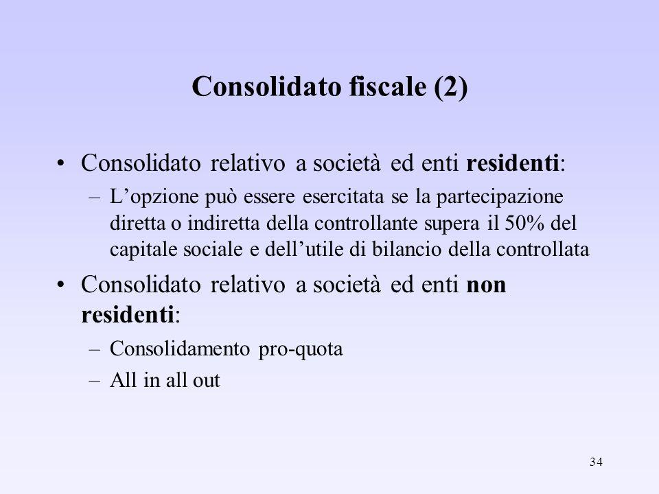 34 Consolidato fiscale (2) Consolidato relativo a società ed enti residenti: –Lopzione può essere esercitata se la partecipazione diretta o indiretta