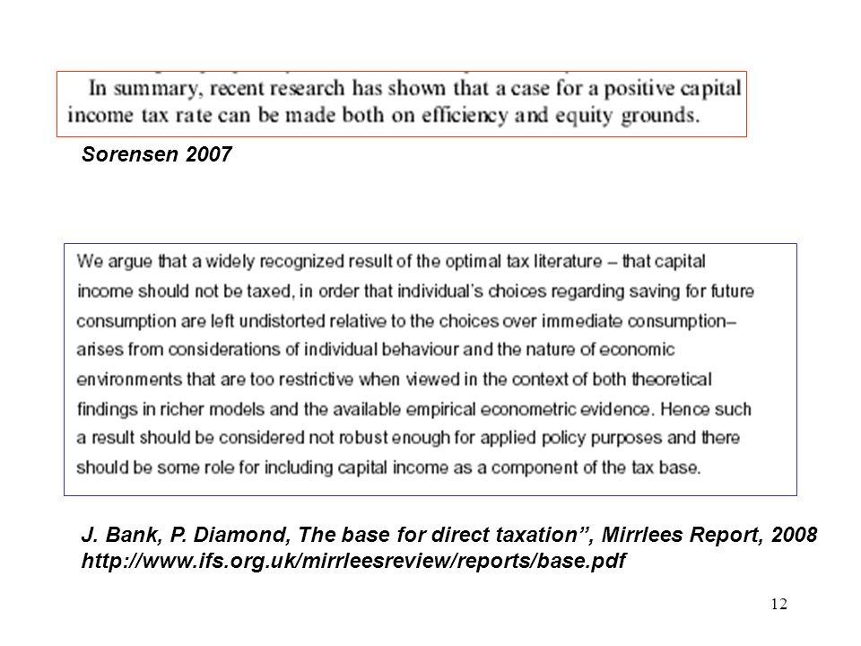 12 J. Bank, P. Diamond, The base for direct taxation, Mirrlees Report, 2008 http://www.ifs.org.uk/mirrleesreview/reports/base.pdf Sorensen 2007