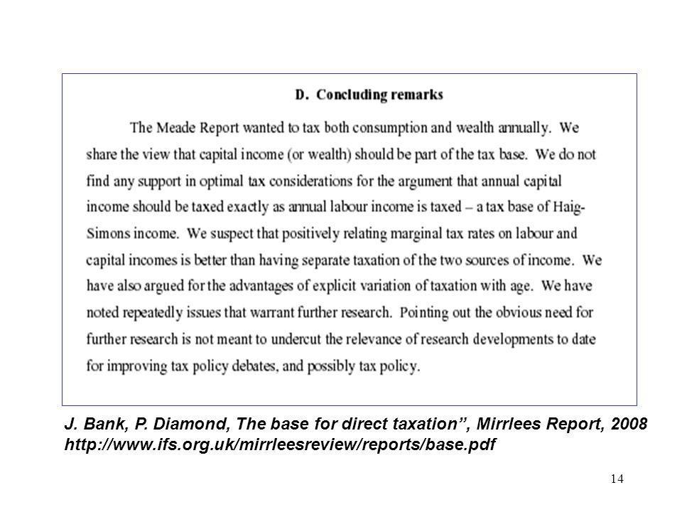 14 J. Bank, P. Diamond, The base for direct taxation, Mirrlees Report, 2008 http://www.ifs.org.uk/mirrleesreview/reports/base.pdf