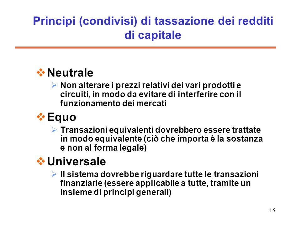 15 Principi (condivisi) di tassazione dei redditi di capitale Neutrale Non alterare i prezzi relativi dei vari prodotti e circuiti, in modo da evitare di interferire con il funzionamento dei mercati Equo Transazioni equivalenti dovrebbero essere trattate in modo equivalente (ciò che importa è la sostanza e non al forma legale) Universale Il sistema dovrebbe riguardare tutte le transazioni finanziarie (essere applicabile a tutte, tramite un insieme di principi generali)