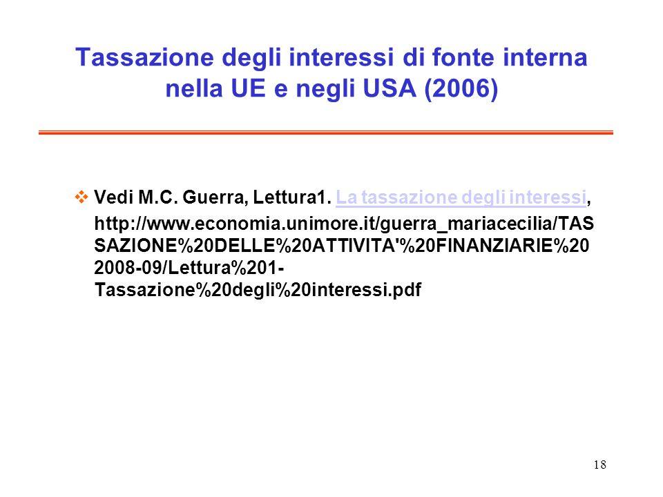 18 Tassazione degli interessi di fonte interna nella UE e negli USA (2006) Vedi M.C. Guerra, Lettura1. La tassazione degli interessi,La tassazione deg