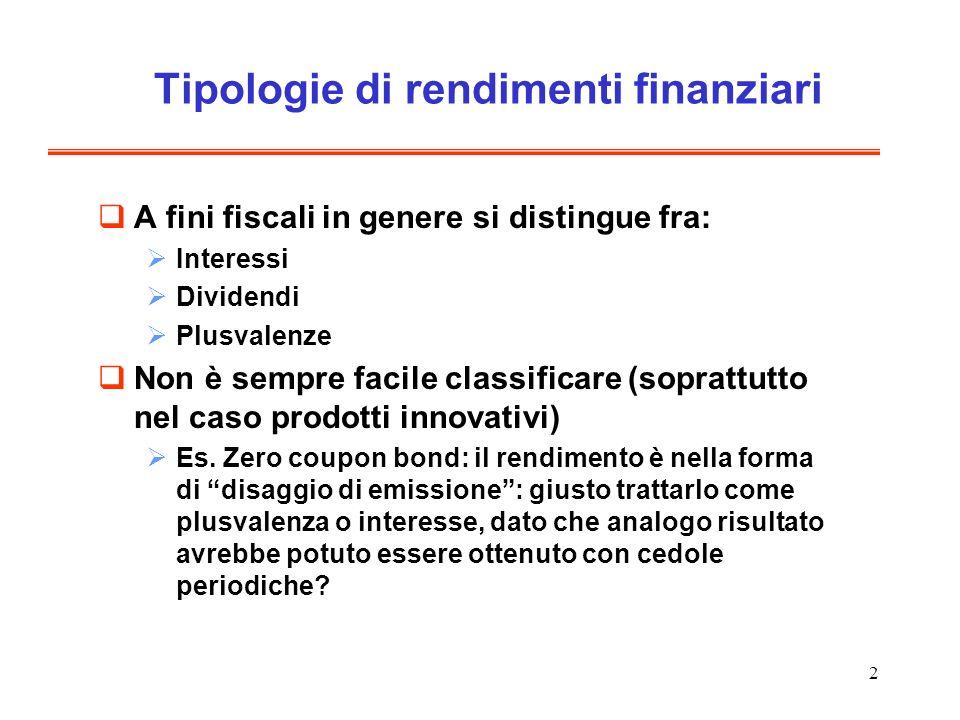 2 Tipologie di rendimenti finanziari A fini fiscali in genere si distingue fra: Interessi Dividendi Plusvalenze Non è sempre facile classificare (soprattutto nel caso prodotti innovativi) Es.