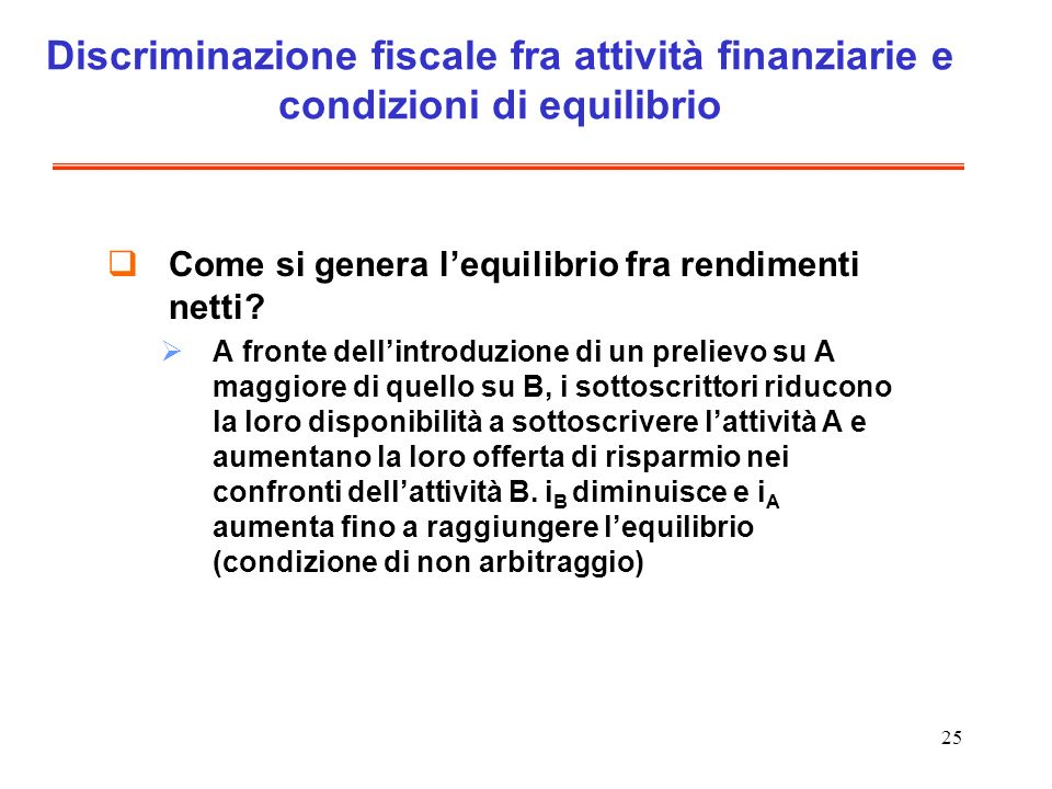 25 Discriminazione fiscale fra attività finanziarie e condizioni di equilibrio Come si genera lequilibrio fra rendimenti netti? A fronte dellintroduzi