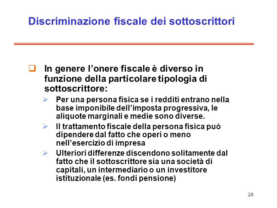 26 Discriminazione fiscale dei sottoscrittori In genere lonere fiscale è diverso in funzione della particolare tipologia di sottoscrittore: Per una pe