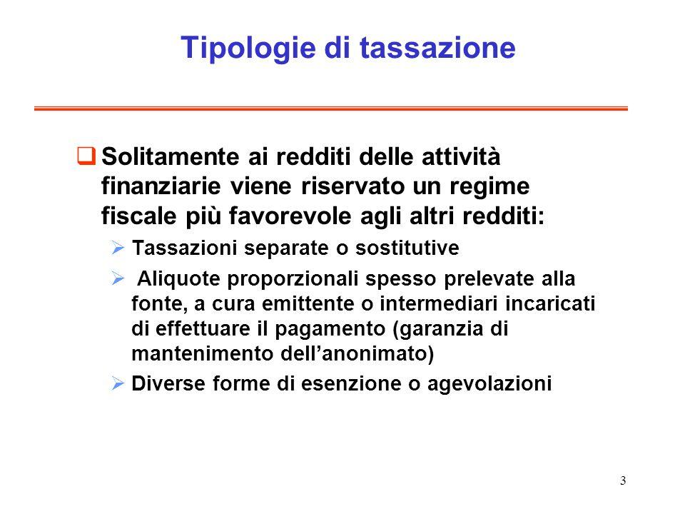 3 Tipologie di tassazione Solitamente ai redditi delle attività finanziarie viene riservato un regime fiscale più favorevole agli altri redditi: Tassa
