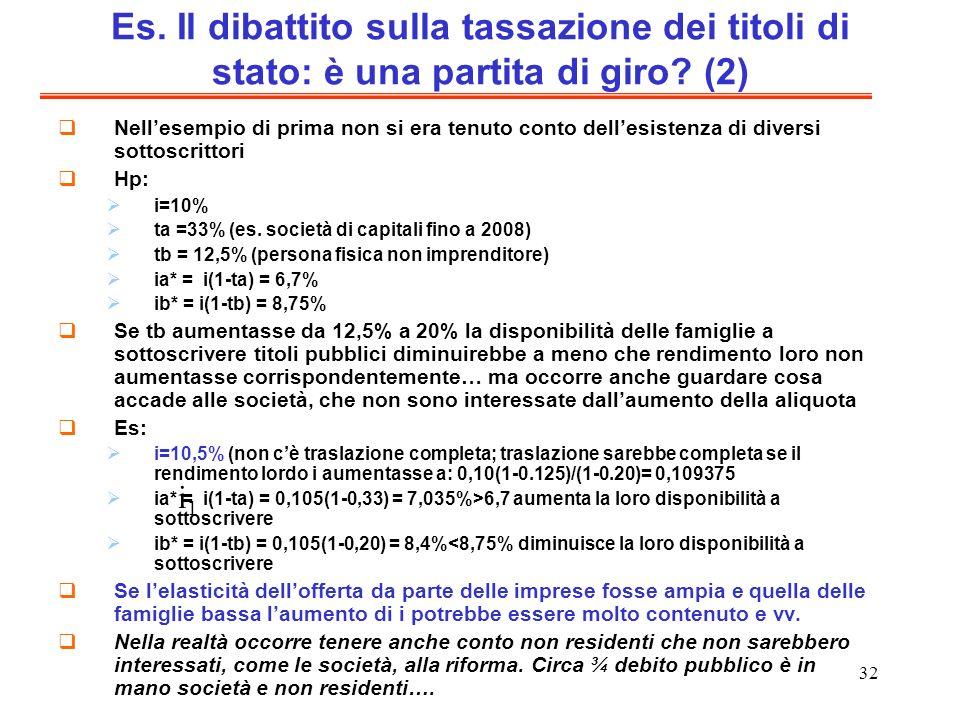 32 Es. Il dibattito sulla tassazione dei titoli di stato: è una partita di giro? (2) Nellesempio di prima non si era tenuto conto dellesistenza di div