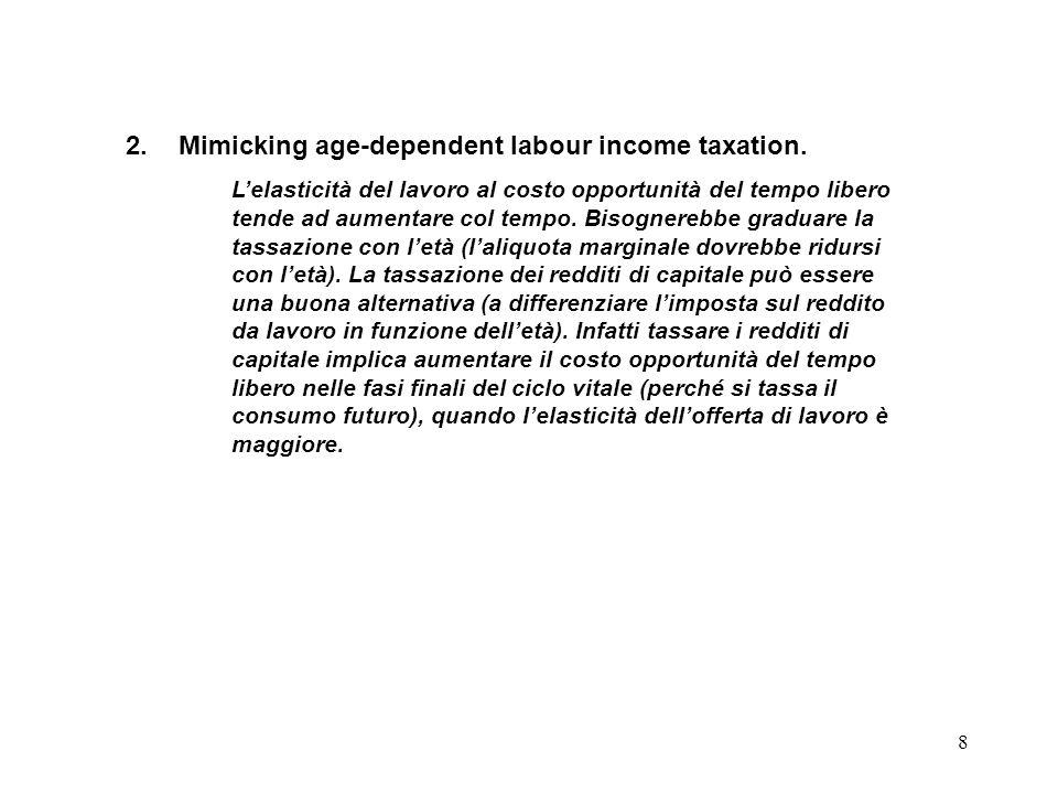 8 2.Mimicking age-dependent labour income taxation. Lelasticità del lavoro al costo opportunità del tempo libero tende ad aumentare col tempo. Bisogne