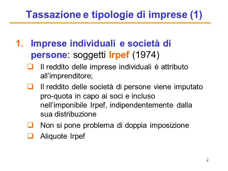 2 Tassazione e tipologie di imprese (1) 1.Imprese individuali e società di persone: soggetti Irpef (1974) Il reddito delle imprese individuali è attri