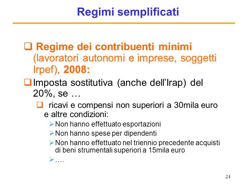24 Regimi semplificati Regime dei contribuenti minimi (lavoratori autonomi e imprese, soggetti Irpef), 2008: Imposta sostitutiva (anche dellIrap) del