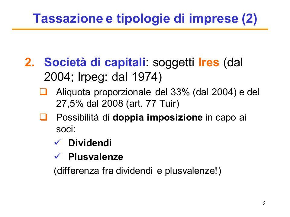 3 Tassazione e tipologie di imprese (2) 2.Società di capitali: soggetti Ires (dal 2004; Irpeg: dal 1974) Aliquota proporzionale del 33% (dal 2004) e del 27,5% dal 2008 (art.