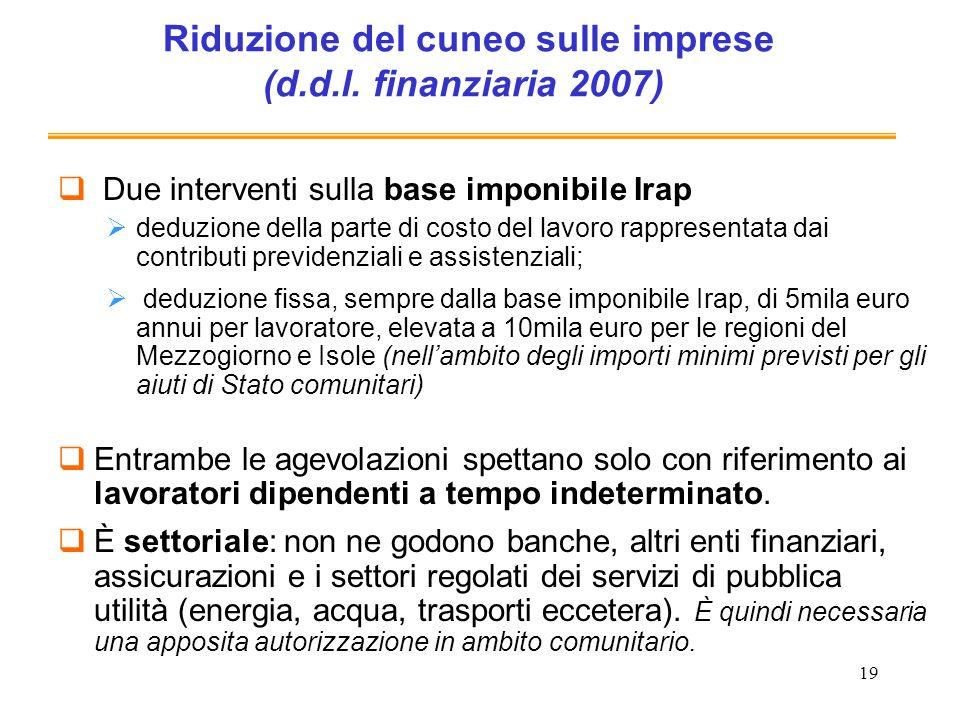 19 Riduzione del cuneo sulle imprese (d.d.l. finanziaria 2007) Due interventi sulla base imponibile Irap deduzione della parte di costo del lavoro rap