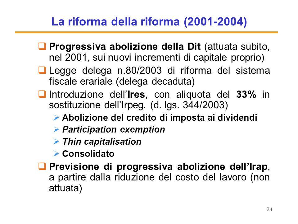24 La riforma della riforma (2001-2004) Progressiva abolizione della Dit (attuata subito, nel 2001, sui nuovi incrementi di capitale proprio) Legge de