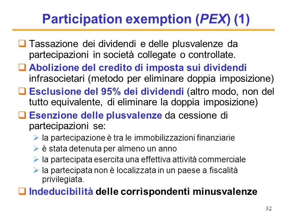 32 Participation exemption (PEX) (1) Tassazione dei dividendi e delle plusvalenze da partecipazioni in società collegate o controllate. Abolizione del