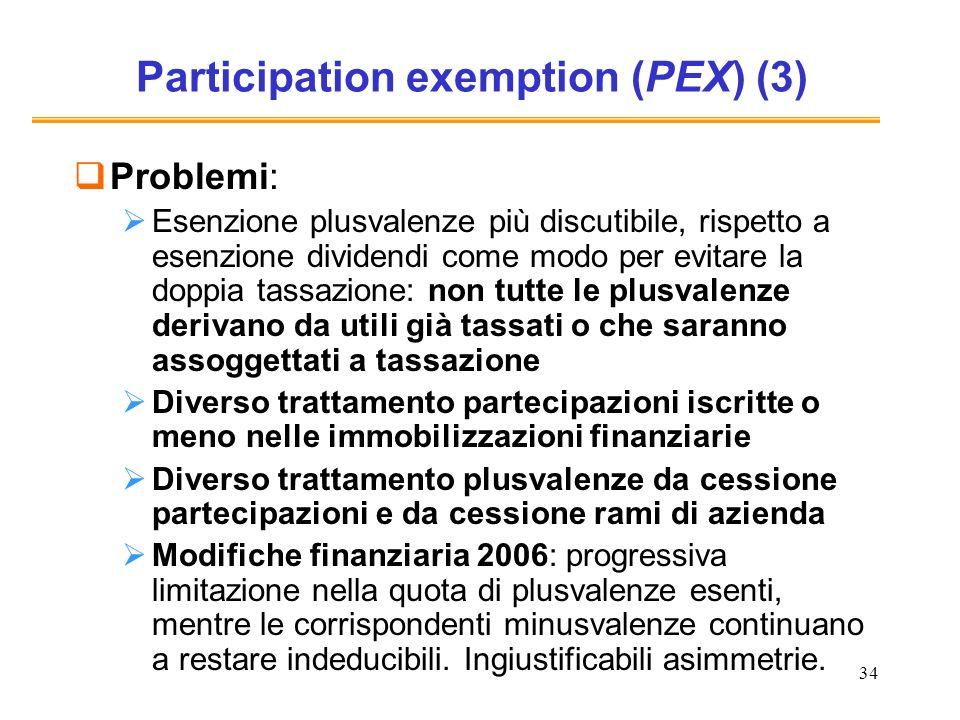 34 Participation exemption (PEX) (3) Problemi: Esenzione plusvalenze più discutibile, rispetto a esenzione dividendi come modo per evitare la doppia t