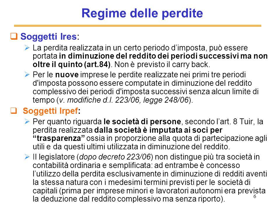6 Regime delle perdite Soggetti Ires: La perdita realizzata in un certo periodo dimposta, può essere portata in diminuzione del reddito dei periodi successivi ma non oltre il quinto (art.84).