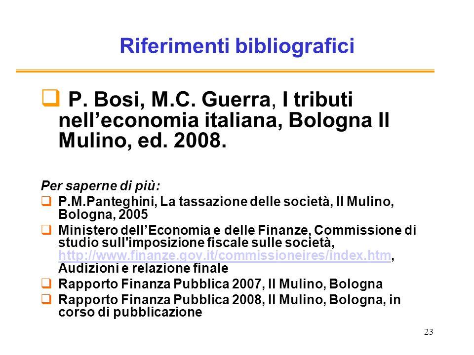 23 Riferimenti bibliografici P. Bosi, M.C.