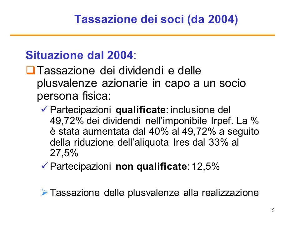 6 Tassazione dei soci (da 2004) Situazione dal 2004: Tassazione dei dividendi e delle plusvalenze azionarie in capo a un socio persona fisica: Partecipazioni qualificate: inclusione del 49,72% dei dividendi nellimponibile Irpef.