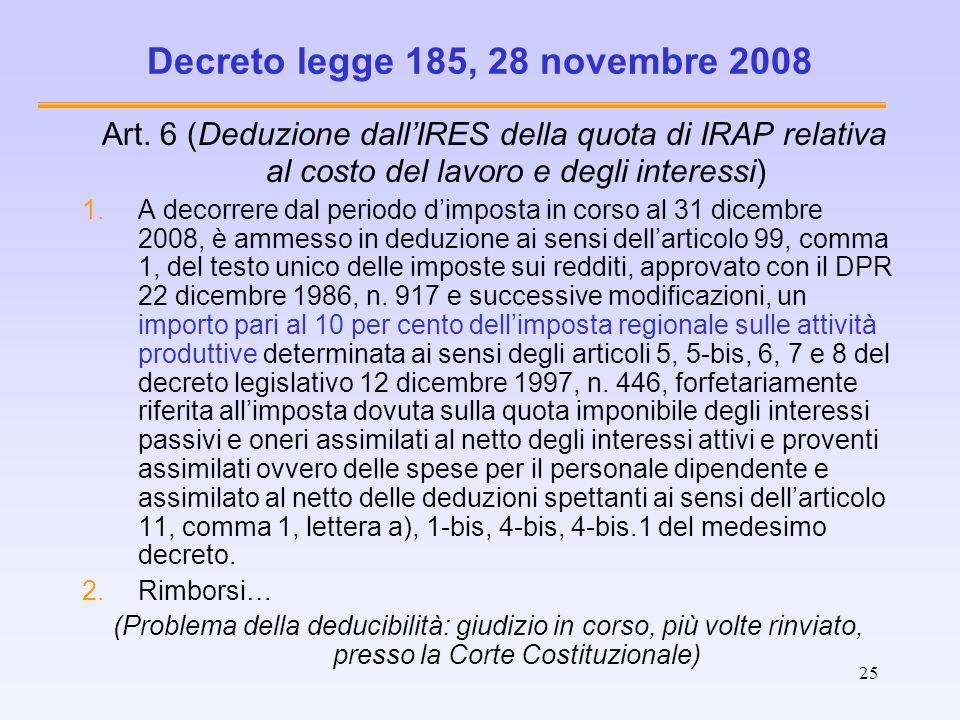 25 Decreto legge 185, 28 novembre 2008 Art. 6 (Deduzione dallIRES della quota di IRAP relativa al costo del lavoro e degli interessi) 1.A decorrere da