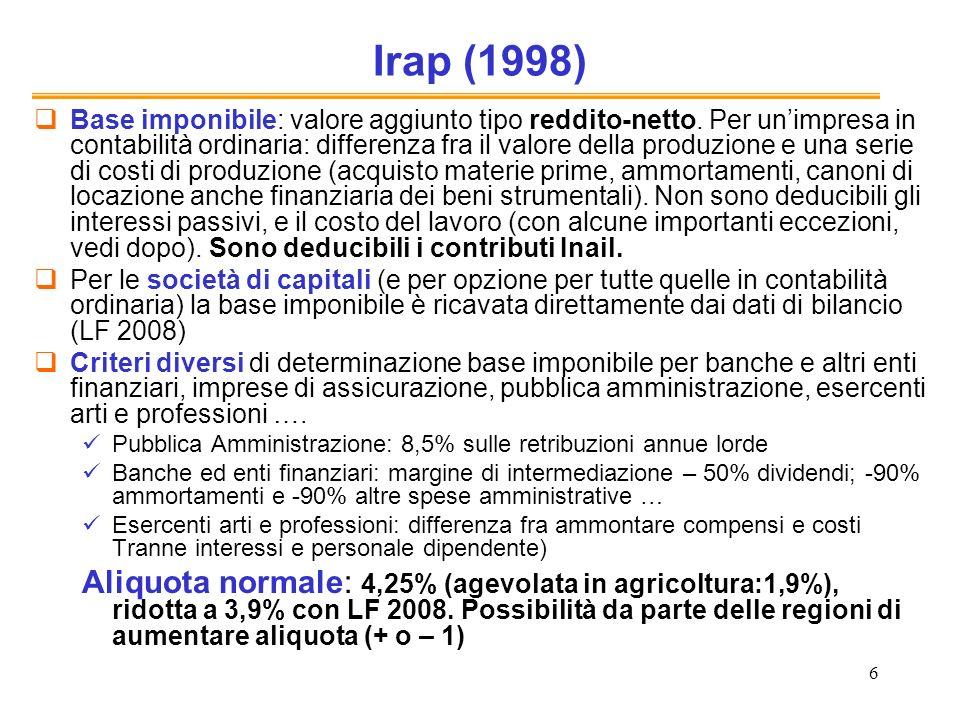 7 Irap La base imponibile è calcolata per sottrazione, ma lo stesso risultato si avrebbe sommando utili, interessi e costo del lavoro (VA come somma dei redditi, invece che come differenza fra ricavi delle vendite e costi per materie prime)