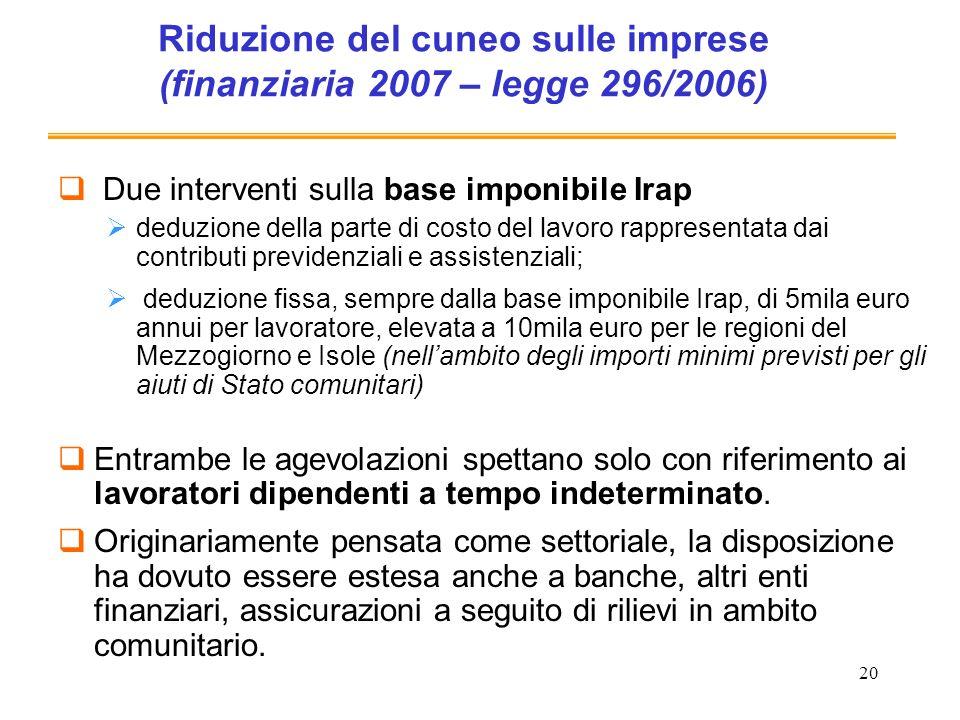 20 Riduzione del cuneo sulle imprese (finanziaria 2007 – legge 296/2006) Due interventi sulla base imponibile Irap deduzione della parte di costo del