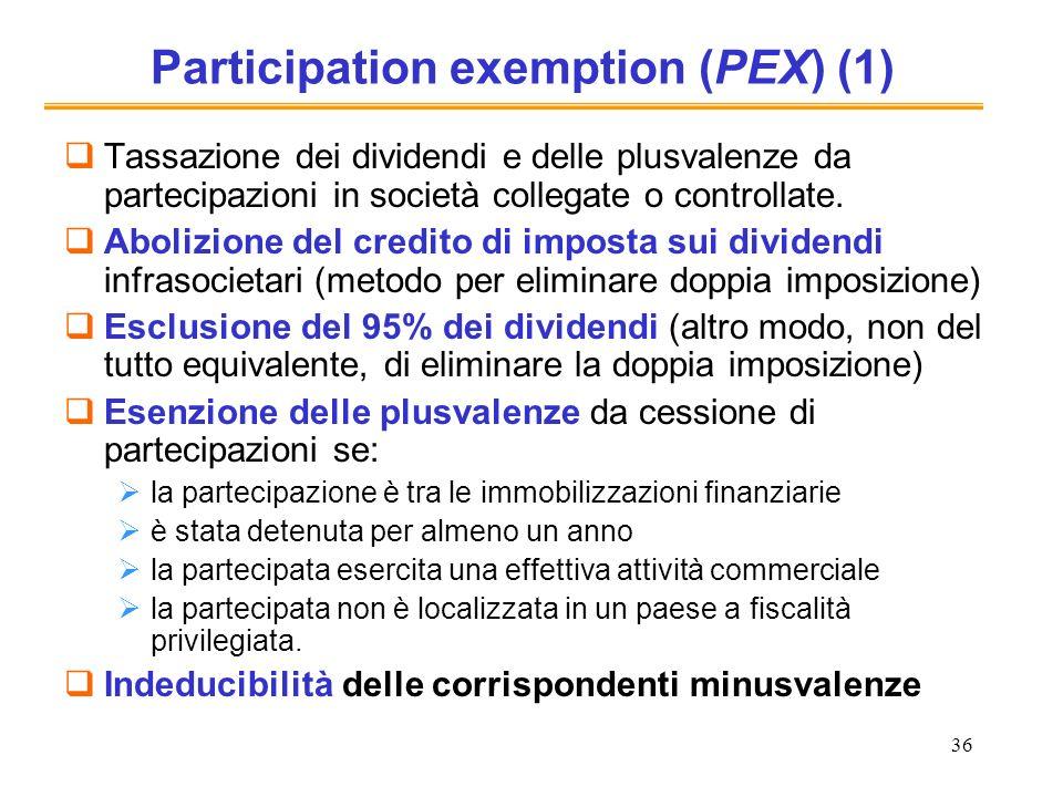 36 Participation exemption (PEX) (1) Tassazione dei dividendi e delle plusvalenze da partecipazioni in società collegate o controllate. Abolizione del
