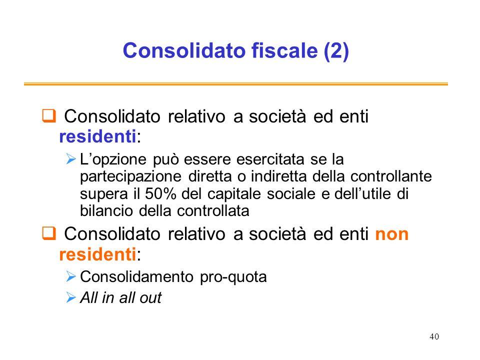 40 Consolidato fiscale (2) Consolidato relativo a società ed enti residenti: Lopzione può essere esercitata se la partecipazione diretta o indiretta d