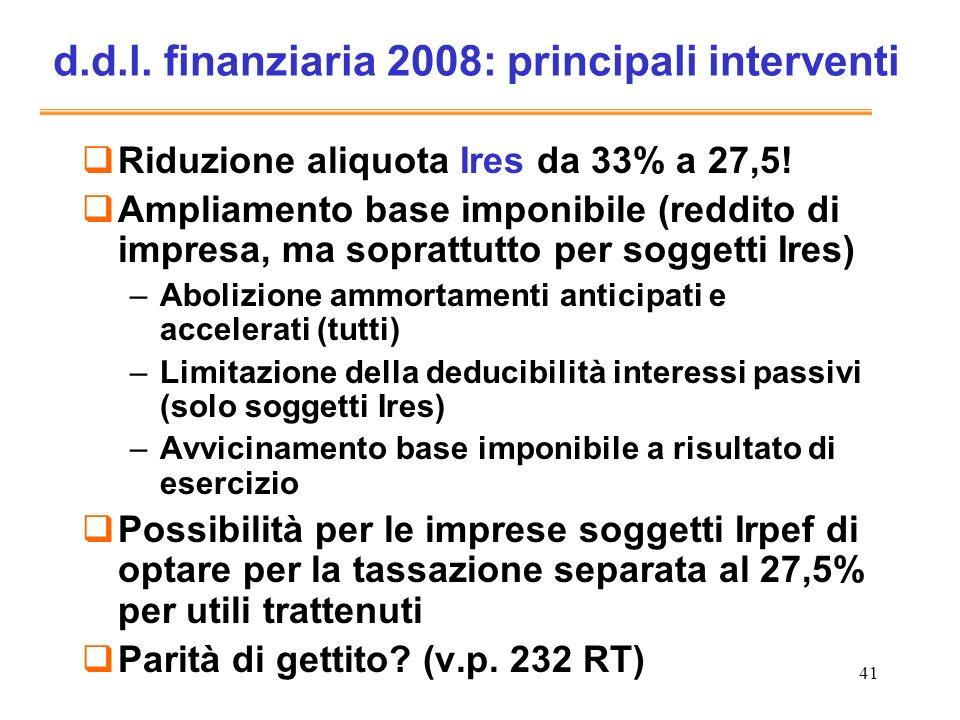 41 d.d.l. finanziaria 2008: principali interventi Riduzione aliquota Ires da 33% a 27,5! Ampliamento base imponibile (reddito di impresa, ma soprattut