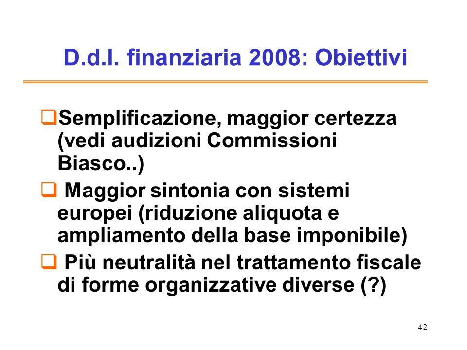 42 D.d.l. finanziaria 2008: Obiettivi Semplificazione, maggior certezza (vedi audizioni Commissioni Biasco..) Maggior sintonia con sistemi europei (ri